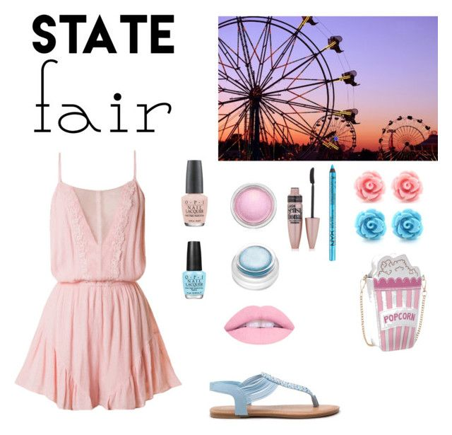 """""""Cotton Candy State Fair Outfit"""" by whateverxox ❤ liked on Polyvore featuring OPI, MAC Cosmetics, Maybelline, NYX, rms beauty, statefair and summerdate"""