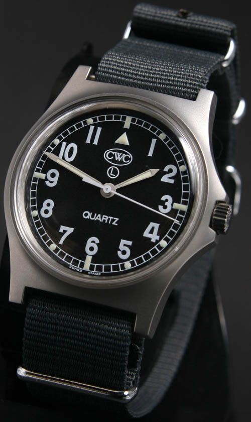 Cabot Watch Company  Current British army quartz general service watch  Currently supplied to MOD for issue to British servicemen, this watch is the definitive military watch. Clear, precise, long-lasting. Latest stock, brand new, luminous light source, acrylic glass and battery hatch. Current issue with thousands in service. Supplied with issue 18mm grey strap. Swiss-made using Swiss parts to extremely high standards. Quartz ETA movement. Three year warranty.
