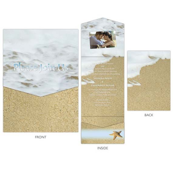 Tropical Beach Wedding Invitations With Waves And Sand Theme Ideas