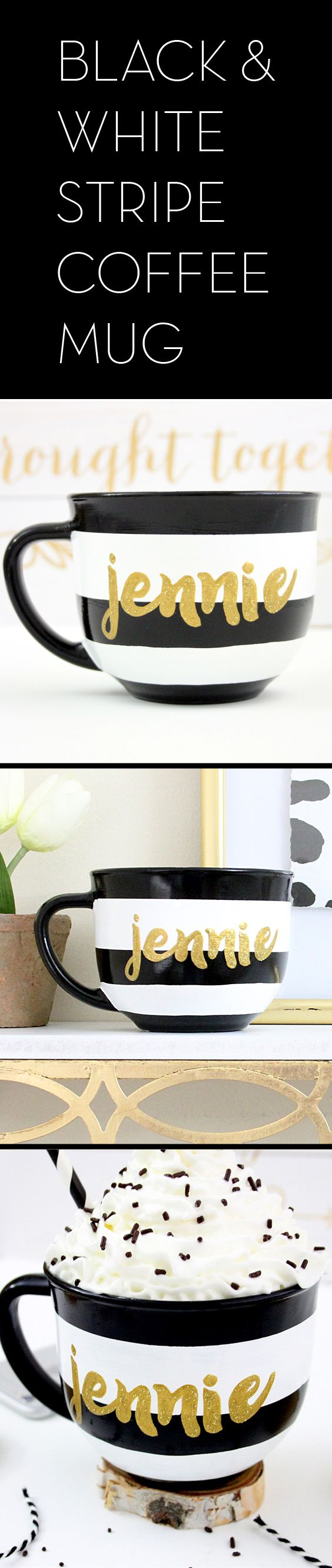Black and white stripe personalized coffee mug.