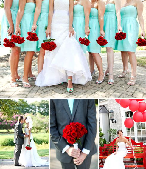 teal and red-love this!! :): Color Combos, Blue Bridesmaid, Red Flower, Bridesmaid Dresses, Red Bouquets, Weddings, Tiffany Blue, Wedding Colors, Red Rose