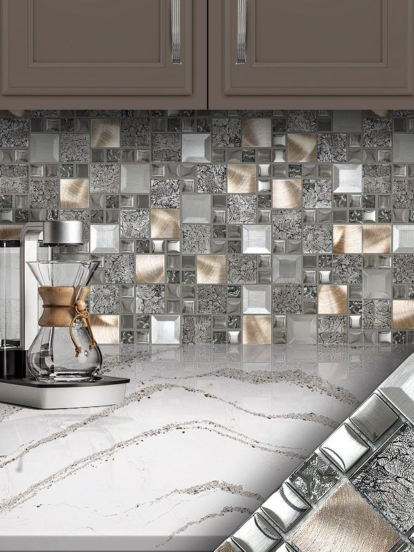 Glass Metal Gray Copper Mosaic Backsplash Tile Backsplash Com