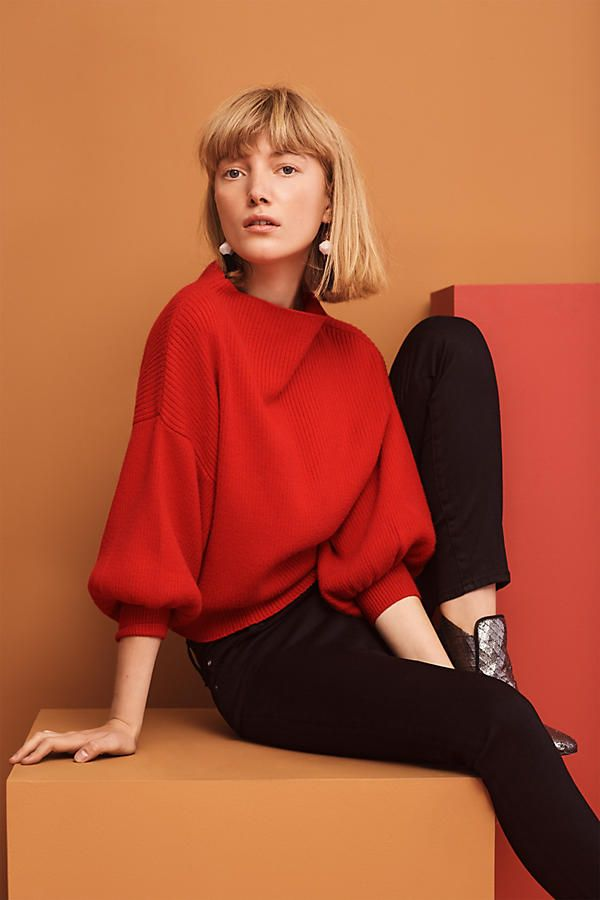 Britta Balloon-Sleeve Jumper. Add a pop of colour to your wardrobe. A timeless jumper with a seriously elegant silhouette.