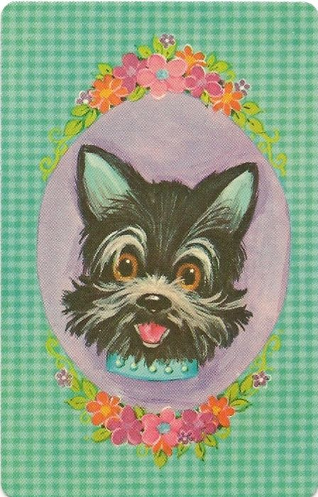 Novocaine Lipstick, keepinitkitsch: fabulous vintage playing card with hillariously kitsch scotty dog illustration.