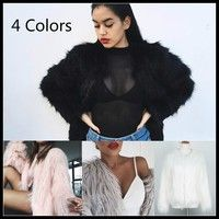 Wish | 7 Colors Women White Faux Fur Coat Jacket Winter Spring Outerwear Women Wool Coats Furry Long Hair White Mink Coat