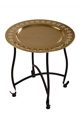 Oriental Moroccan Arabian Brass Folding Coffee Tea Side Table with Tray - Samia 40cm - (Gold)