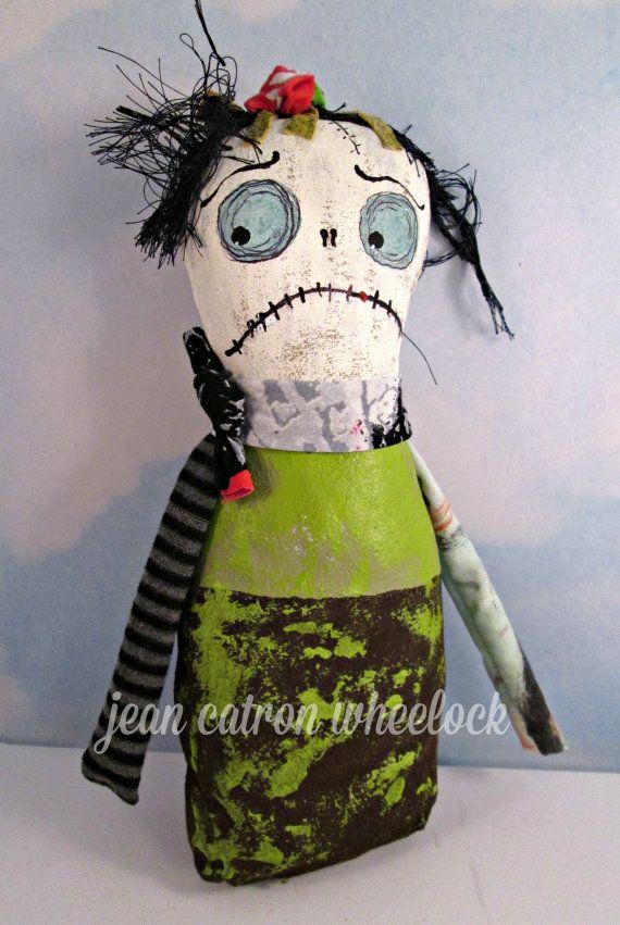 Monster Doll - Halloween Art Doll - Handmade Folk Art - Original OOAK - Free USA Shipping - Textile Original