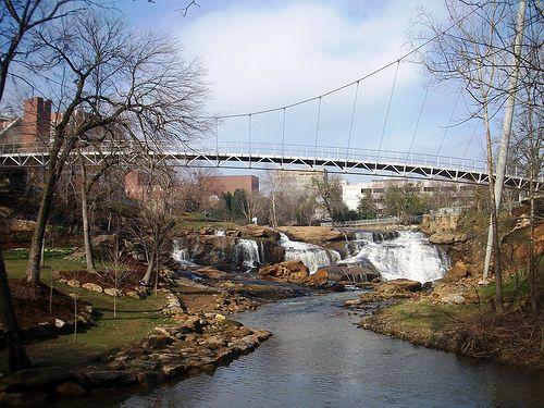 The Liberty Bridge- Downtown Greenville, SC- Reedy River Falls