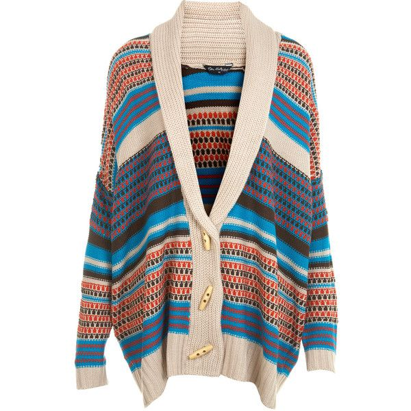 Chunky Slouch Cardi ($44) ❤ liked on Polyvore featuring tops, cardigans, sweaters, jackets, outerwear, women, multi color tops, slouchy tops, colorful tops and multi colored cardigan