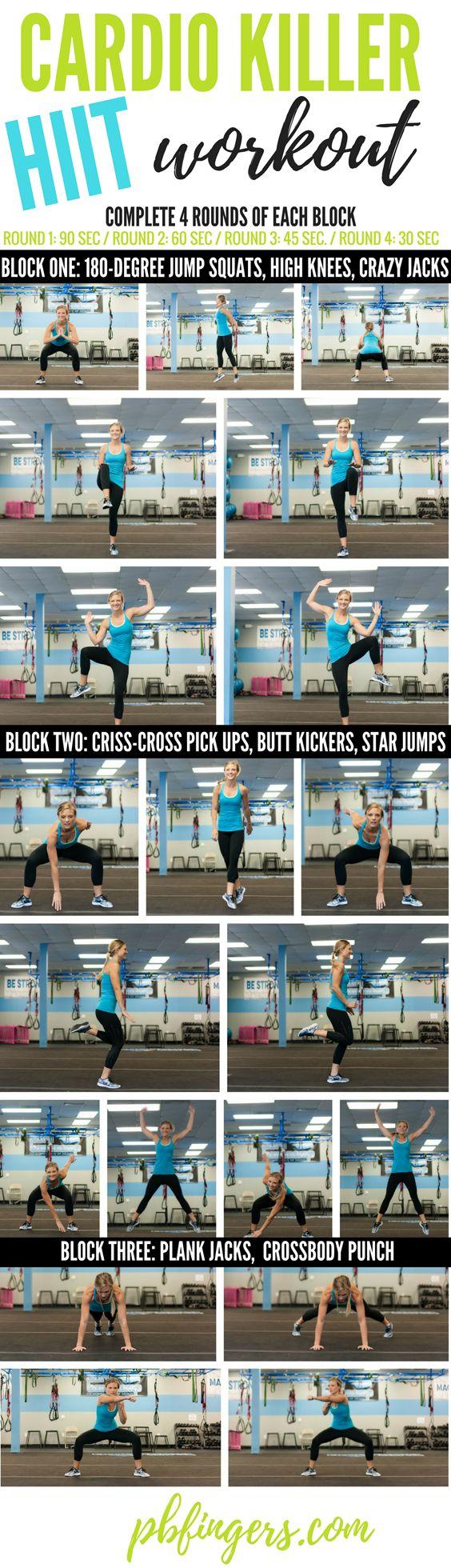 """Cardio hiit: Día 2 y 5  Tres vueltas: Cada ejercicio durante 50"""" descansa 30"""" entre uno y otro. Descansa 1' entre vuelta y vuelta."""