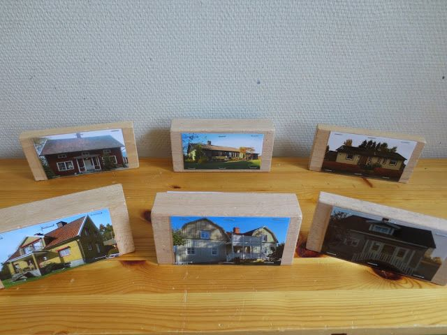 Photos of family houses or local buildings for block play