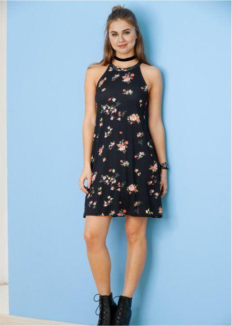 Úpletové šaty, RAINBOW, černá-květový vzor