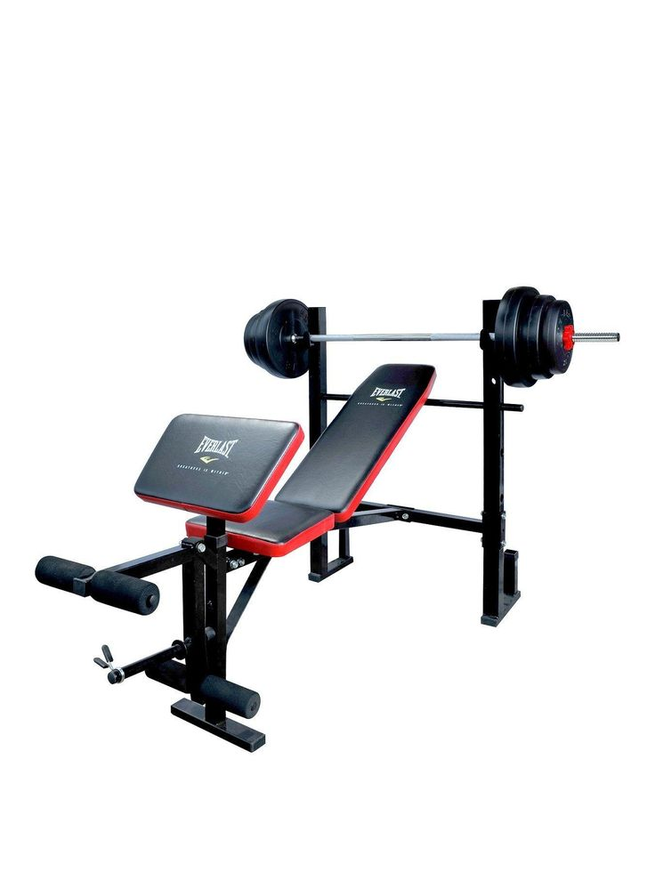 Everlast Weight Bench With 36kg Vinyl Barbell Set Build the body you've always wanted and feel great with the Everlast weight bench and 36 kg vinyl barbell set. With a 3-position padded backrest, in stylish yellow with black inlay, and comfortable foam rollers to support the knees and ankles, you can put all your focus into building your preferred muscle groups.Ideal for a wide range of workouts, including bench press, leg extension and lat pull down. Includes a preacher curl pad with wit...