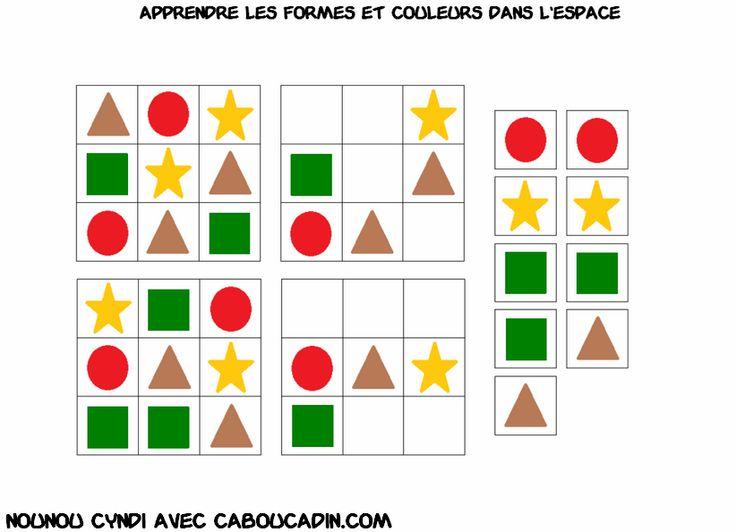 apprendre les formes et les couleurs en maternelle plus de fiches sur http://www.caboucadin.com/apprendre-couleur-espace.php