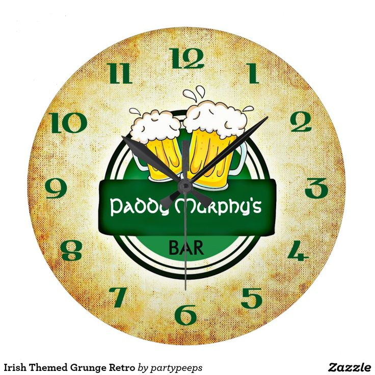 Irish Themed Grunge Retro Wall Clocks