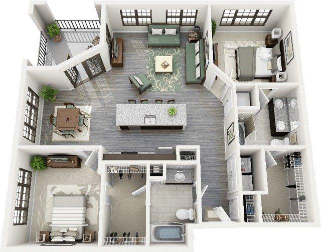 3 dormitorio planos de los apartamentos 3d planos de for Planos de casas sims