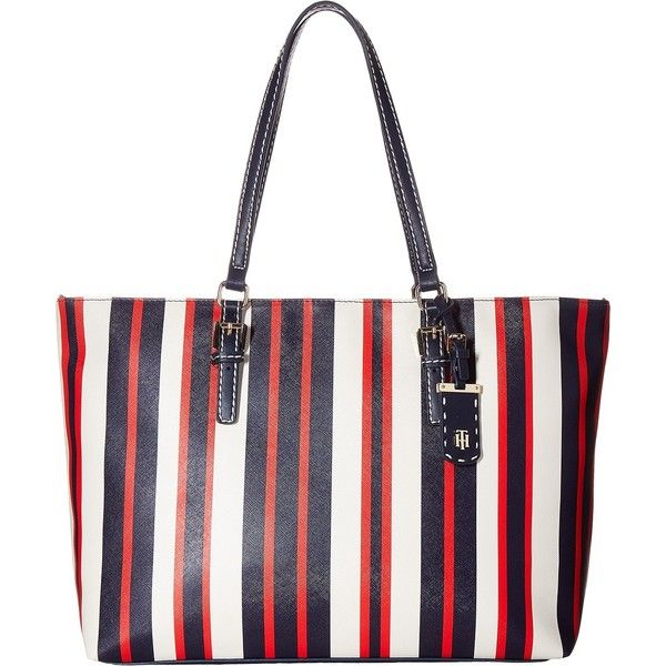 Tommy Hilfiger Julia Tote (Navy/Multi) Tote Handbags ($64) ❤ liked on Polyvore featuring bags, handbags, tote bags, navy, tommy hilfiger handbags, navy blue handbags, white shopping bags, shopper tote bag and navy blue tote bag