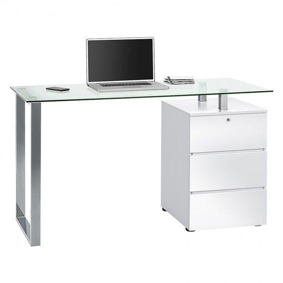 Computertisch Sima - Hochglanz Weiß/Chrom | Home24