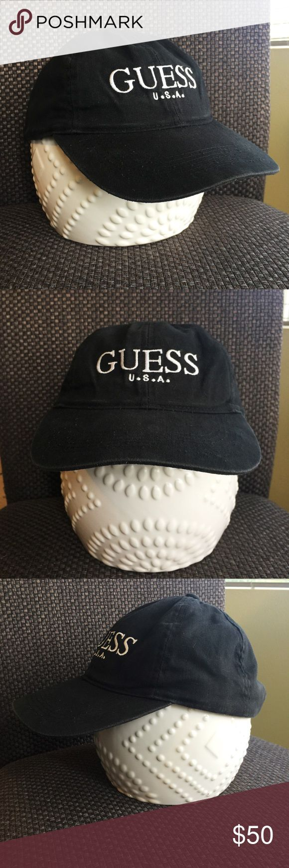 Vintage 90's Guess U.S.A. SnapBack hat Vintage Guess USA SnapBack hat. Unisex and one size fits all. Black with white lettering. Minor discoloring on inside of hat (see picture), but cannot see if from exterior. 90's, classic, ASAP Rocky style. Guess Accessories Hats