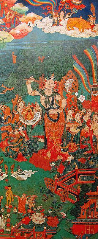 チベット仏伝図 : 仏陀の誕生 「菩薩として兜率天を治めていた仏陀は、白像の姿になり地上に姿を現します。そして断食をしていたカピラ城の王妃摩耶夫人の体内に入ったそうです。その後ルンビニで摩耶夫人から誕生した後、四方に7歩歩き「天上天下唯我独尊」と唱えました。