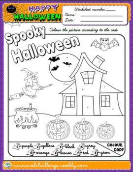 HALLOWEEN COLOURING WORKSHEET AVAILABLE IN NEW PACK HALLOWEEN FUN!
