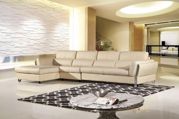 AE-L689R-CRM Modern 3pcs Cream Sectional Sofa Set