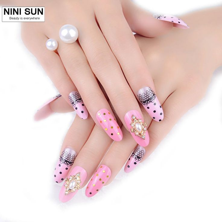New Arrival Decorated 3D fake nails 24pcsset Resinstone acrylic false nail tips 3D Manicure nail wholesale direct married bride 4