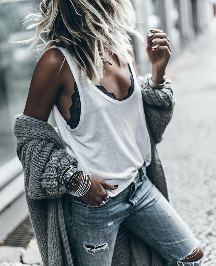 Mikutas, white t-shirt, black bra, ripped jeans, bracelets, grey knit jacket