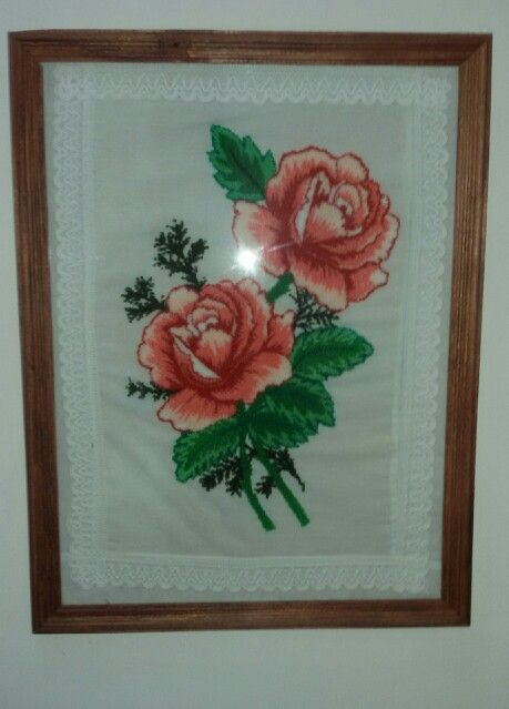 Rosas en bordado chino