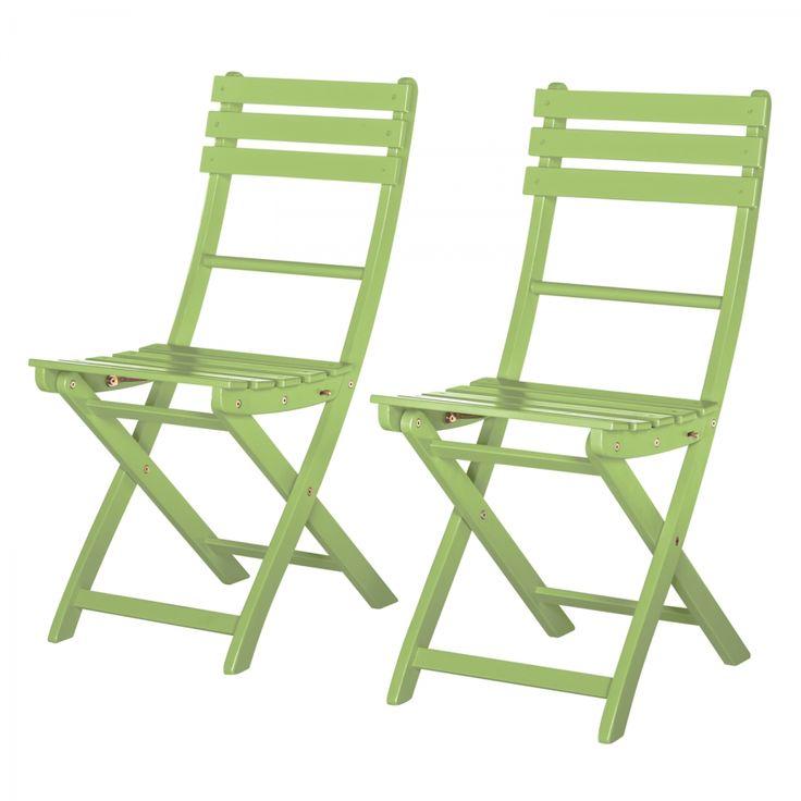 Chaise pliable Betty Sue (lot de 2)- Acacia massif - Vert pastel