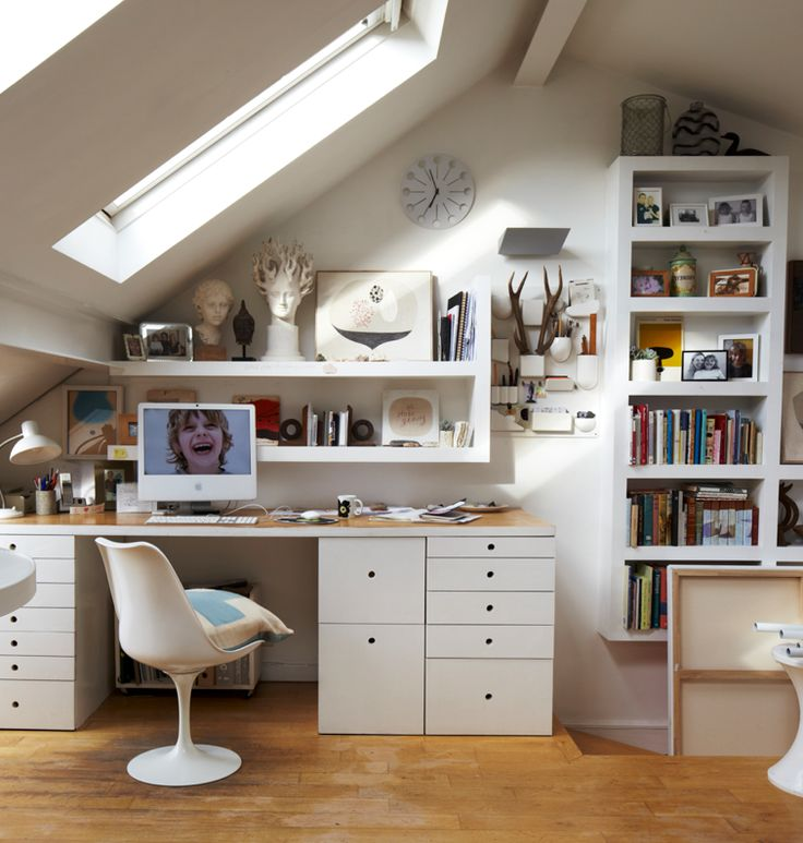 Build a creative working space in your loft. Plenty of natural light will buoy…