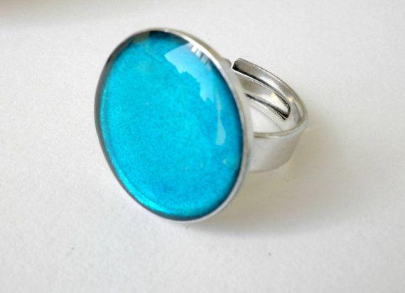 Blue resin ring  Adjustable ring  Blue ocean resin by dadahandmade, €9.00