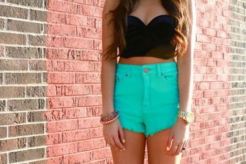 high waisted shorts and crop top.  Summer <3