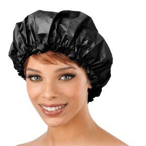 Deluxe Shower Cap by Annie. $2.50. Soft cotton inside. Color: black. Double lined. Waterproof vinyl. Deluxe Shower Cap features a double lining of waterproof vinyl and soft cotton.