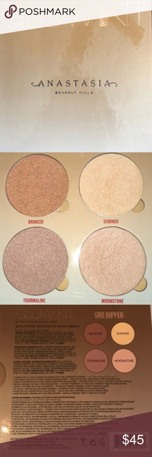 BNIB AUTHENTIC ANASTASIA BH SUN DIPPED GLOW KIT No trades. BNIB and GUARANTEED 100% AUTHENTIC ANASTASIA Beverly Hills Glow Kit in SUN DIPPED! :) This Sun Dipped Palettes includes the following four shades in untouched condition - colors are covered with plastic in palette:  Bronzed (amber w/ penny metal finish) Tourmaline (warm taupe w/ a rose gold finish) Mooonstone (radiant quartz w/ a pearl finish) and Summer (luminous sand w/ a white gold finish). Anastasia Beverly Hills Makeup Eyeshadow