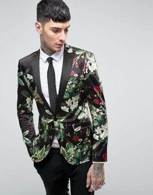 ASOS | ASOS Super Skinny Blazer with Floral Design