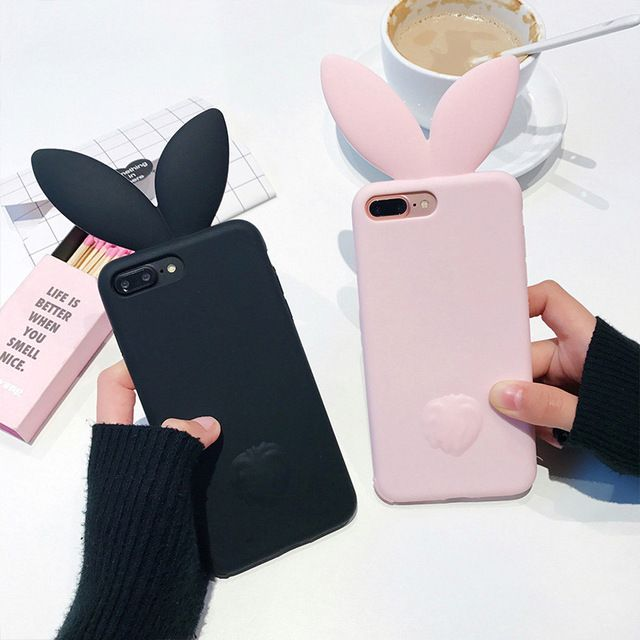 3D Cute Rabbit Ear Case For iPhone 7 7plus Soft Silicon For iPhone 6 6plus 6s 6splus 5 5S SE Cute Pink & Black Girl Cover