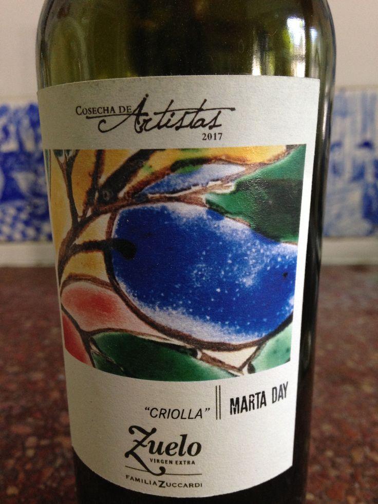 """ZUELO.  Mendoza , Argentina. """"Cosecha de artistas"""". Etiqueta con imagen de azulejo de Marta Day.  2017."""