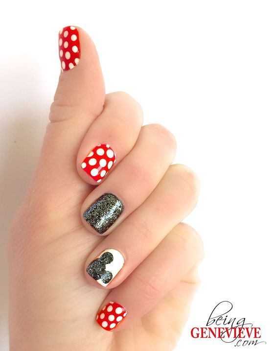 Magical Mickey   Being Genevieve Step-by-step tutorial on how to create this cute disney nail art design. Come see how to make the Mickey silhouette sparkle. . . See more: http://beinggenevieve.com/magical-mickey/