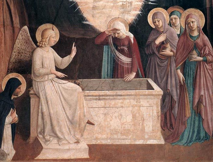Fra Angelico, Resurrection of Christ and Women at the Tomb, detail,  1440-42, fresco  http://casasantapia.com/art/fraangelico/conventodisanmarco.htm