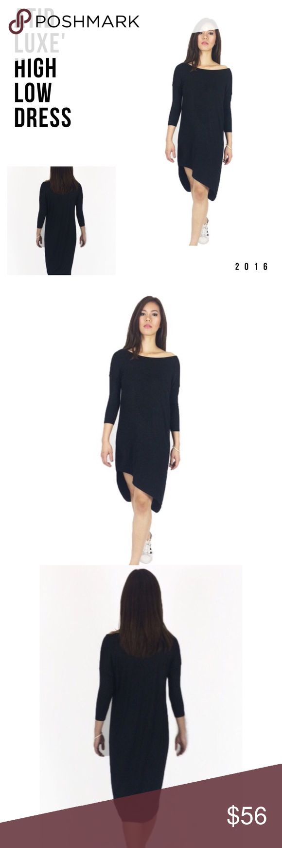Patter Dress Luxury designer ATID high low dress in black. Material: Luxury Jersey 94%, Spandex, and Rayon blend. Gorgeous unique high low perfect fall mid length sleeve midi dress. True to size designed and manufactured in the USA. Color: black soft Jersey material. Atid Clothing Dresses Midi