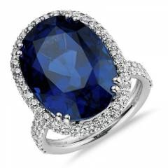 Sapphire and micropave diamond ring in platinum.  Price? Only $133000 :)