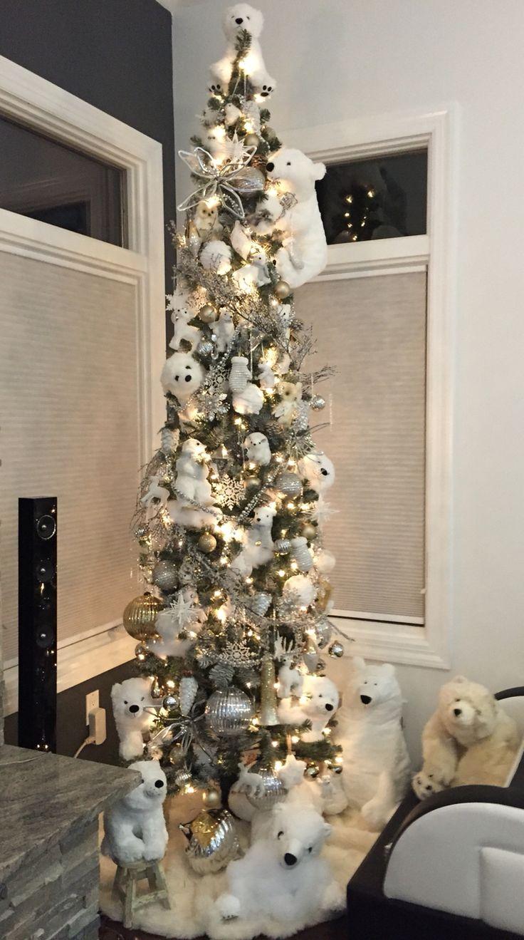 Polar bear white Christmas tree | Pencil christmas tree ...