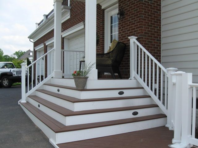 Two story decks with stairs wrap around stairs serves for Front porch deck designs