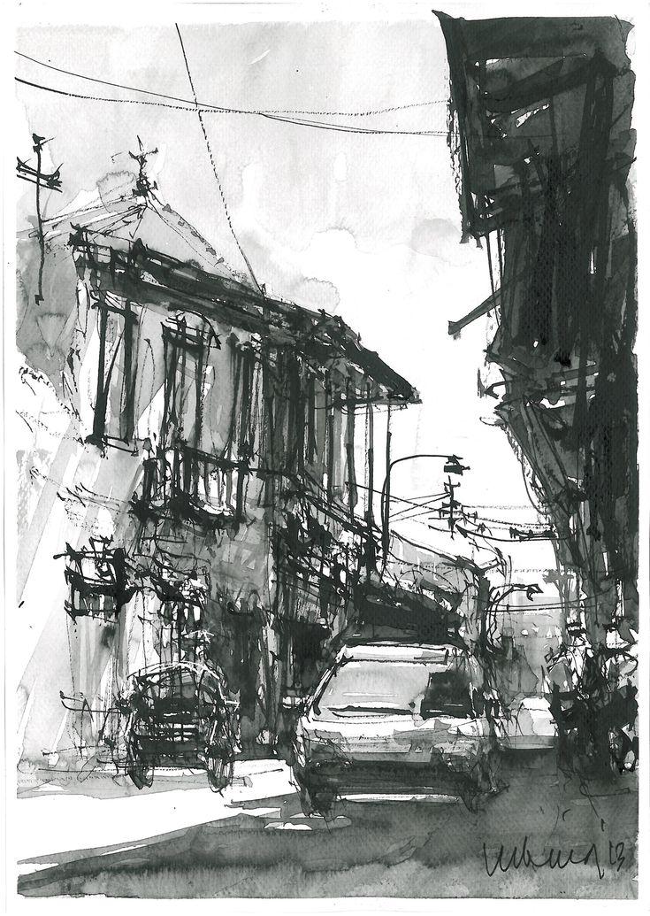 Jalan Panggung Surabaya  Chines ink on paper
