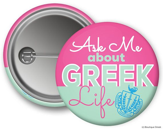 NPC Panhellenic Ask Me Sorority Button by BoutiqueGreek on Etsy