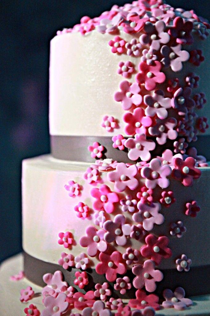 Cake With Fondant Flowers : Pink Flower Fondant Wedding Cake with Grey Ribbon - Pink ...