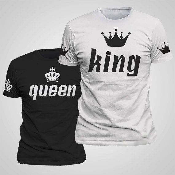 King Queen Lovers Tee T Shirt Imperial Crown Printing Couple Clothes lovers Tee Shirt Femme Summer 2017 New Casual O-neck Tops