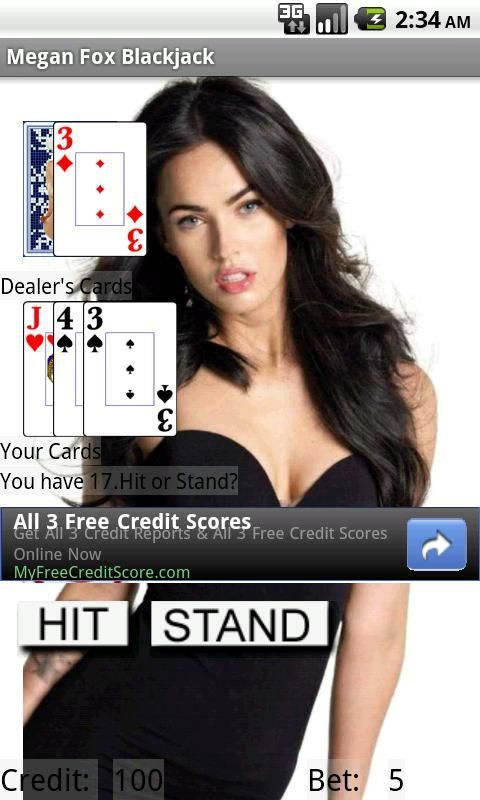 Megan Fox photo gallery with a great game of Blackjack. Try to get 21 with Megan distracting you.