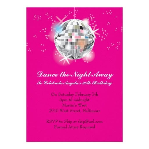 Disco Party Invitation with Hot Pink Background